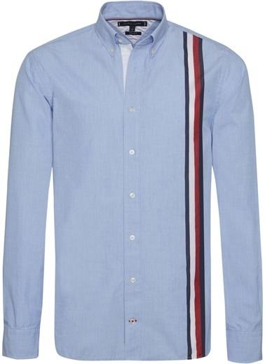 Tommy Hilfiger Erkek Slım Global Strıpe Shı Gömlek MW0MW11038 Mavi